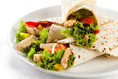 Kebab - grilled meat and vegetables — Stock Photo