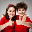 Kids showing OK sign — Stock Photo