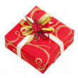 Beautiful red box with tape and heart for gifts isolated on whit — Stock Photo