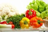 Verdure fresche. frutta e altri prodotti alimentari. — Foto Stock