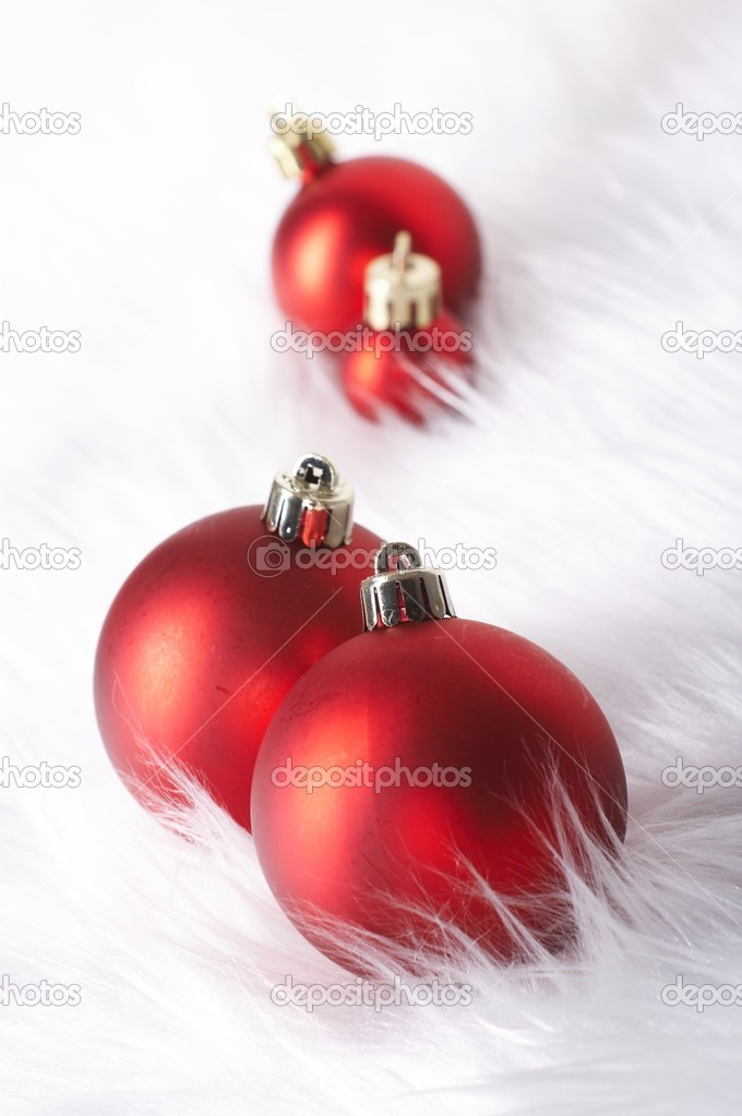 Red christmas balls with snow  Stock Photo #10514713