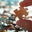 Stock Photo: Hand holds puzzle on background