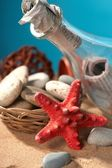 Sea still-life the message in a bottle — Stock Photo