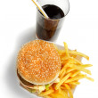 Hamburger meal served with french fries and soda close-up — Stock Photo
