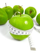 Green apples measured the meter, sports apples — Stock Photo