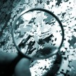 Magnifying glass, puzzle — 图库照片