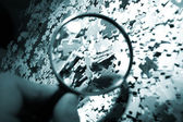 Magnifying glass, puzzle — Photo