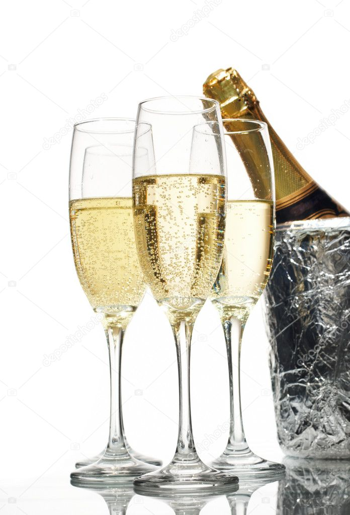 Champagne flutes and ice bucket  Stock Photo #10670223