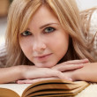 Beautiful woman with book — Stock Photo
