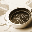 Map with a compass — Stock Photo