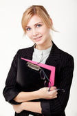 Businesswoman with a folder — Stok fotoğraf