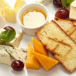 Cheese plate with grapes and honey - Stock Photo