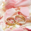 Golden rings and rose petals — Stock Photo #9076519