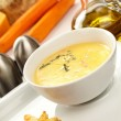Cream soup with toasts — Stock Photo