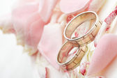 Złote pierścienie i płatki róży — Zdjęcie stockowe