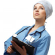 Medical doctor with folder — Stock Photo