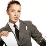 Businesswoman wih personal organizer — Stock Photo