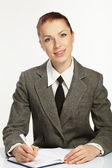 Businesswoman wih personal organizer — Stock Photo