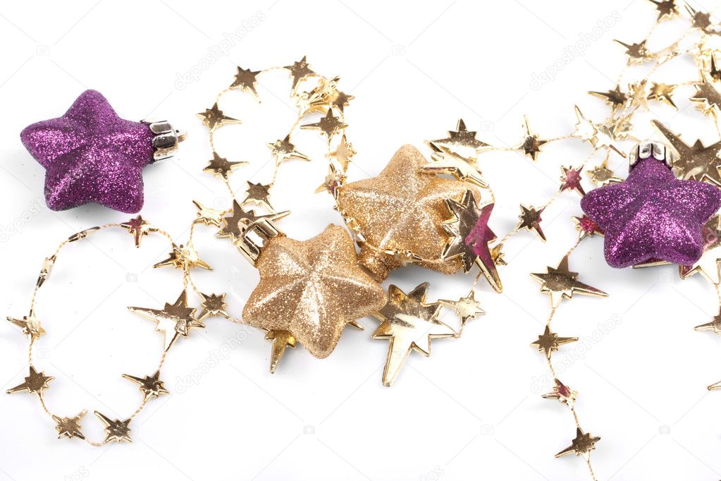 Christmas stars on the white background  Foto Stock #9226473