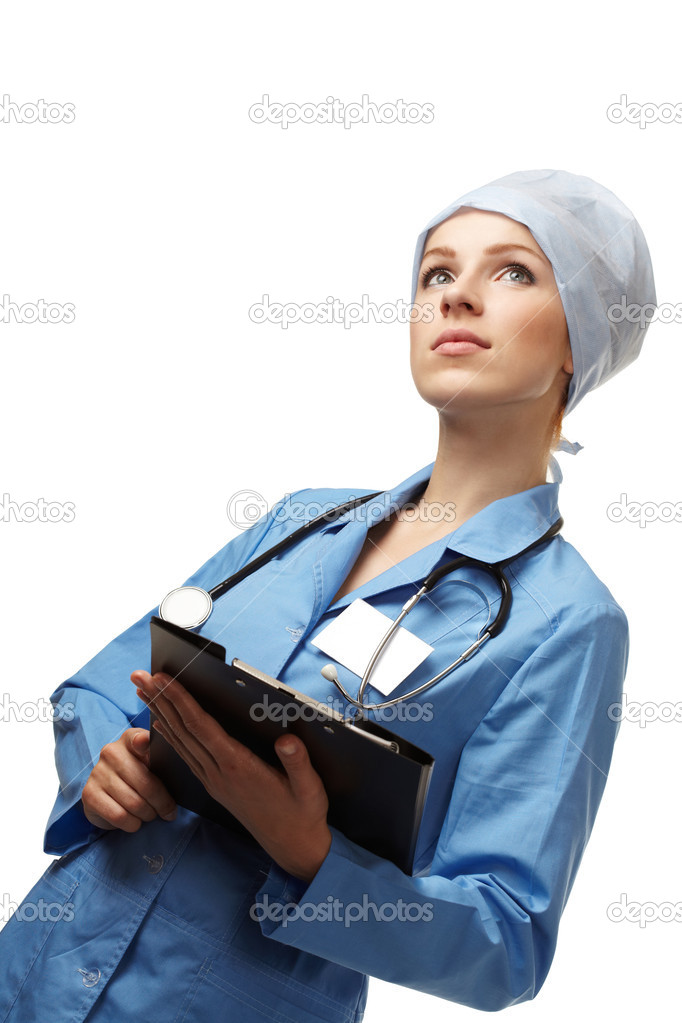 Medical doctor with folder  Stock Photo #9227039