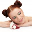 Beautiful woman with pastry — Stock Photo