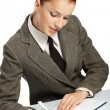 Businesswoman with personal organizer — Stock Photo