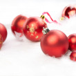 Christmas balls on the white background — Stok fotoğraf