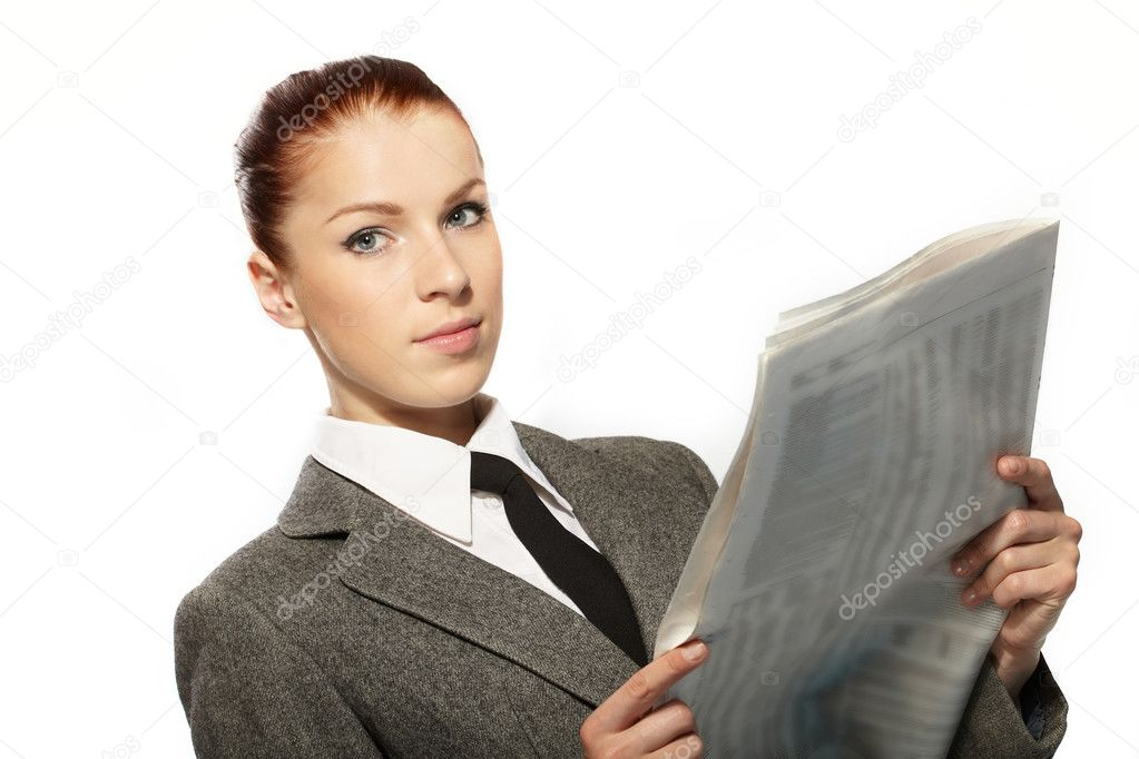 Businesswoman with newspaper — Stock Photo #9248758