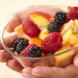 Fruit salad in the hands — Stock Photo