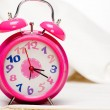 Pink alarm clock — Stock Photo #9255095