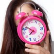 Stock Photo: Beautiful woman and alarm clock