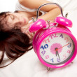 Beautiful woman and alarm clock — Stock Photo #9255719