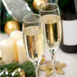 Glasses of champagne at New Year's Eve — Stock Photo