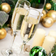 Glasses of champagne at New Year's Eve - Zdjęcie stockowe