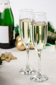 Glasses of champagne at New Year's Eve — Stok fotoğraf