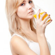 Young woman with orange juice — Stock Photo #9280323