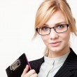 Businesswoman with a folder — Stock Photo