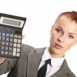 Portrait of young businesswoman with calculator — Stock Photo #9641427