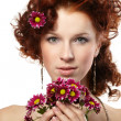 Portrait of a happy women with flowers — Stock Photo #9641519