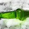 Close up view of the bottle in ice — Stock Photo