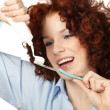 Young beauty woman clean teeth — Stock Photo