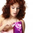 Happy woman with gift — Stock Photo #9641766