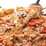 Pizza with champignons — Stock Photo