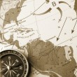 Map with a compass — Stockfoto