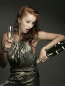 Woman with champagne — Stock Photo