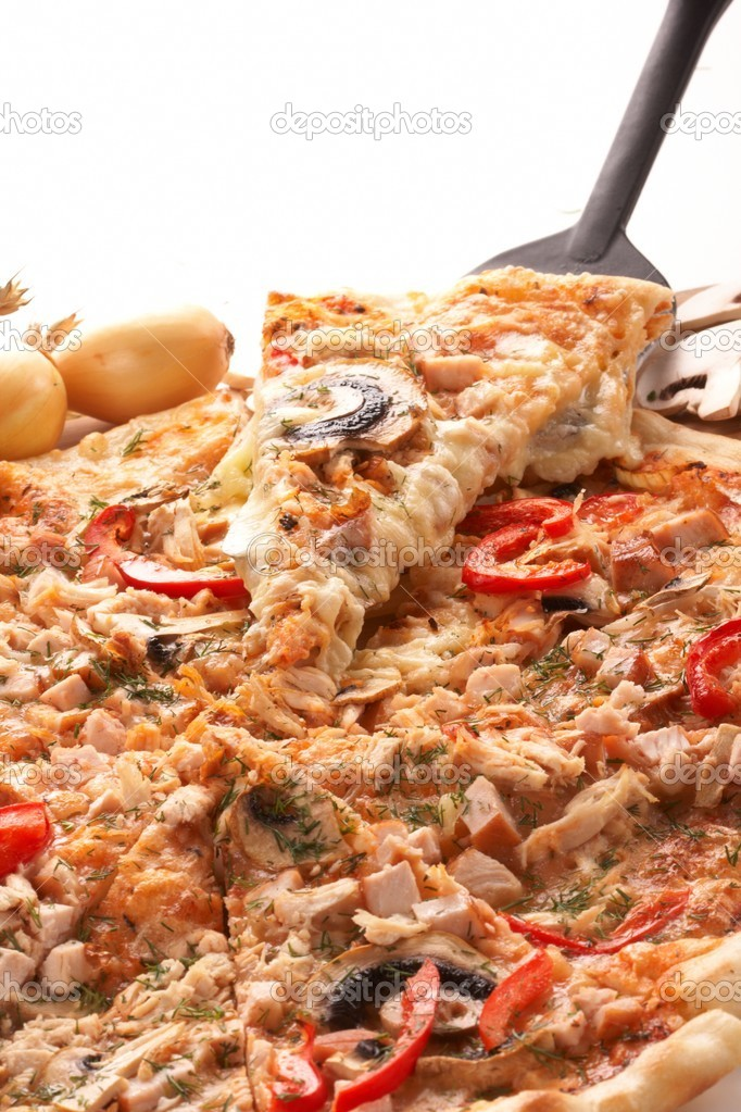 Pizza with champignons — Stock Photo #9641800