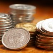 Silver and gold coins — Stockfoto #9768438