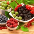 Berries in plates, on a table, among green leaves - Stock Photo