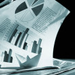 Stock Photo: Business concept, paper boat and tsunami documents
