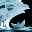 Business concept, paper boat and tsunami documents - Stok fotoğraf
